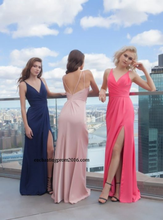 293f7d10df2 Faviana 7755 Long Ruched V Neck Satin Slit Prom Dresses 2016